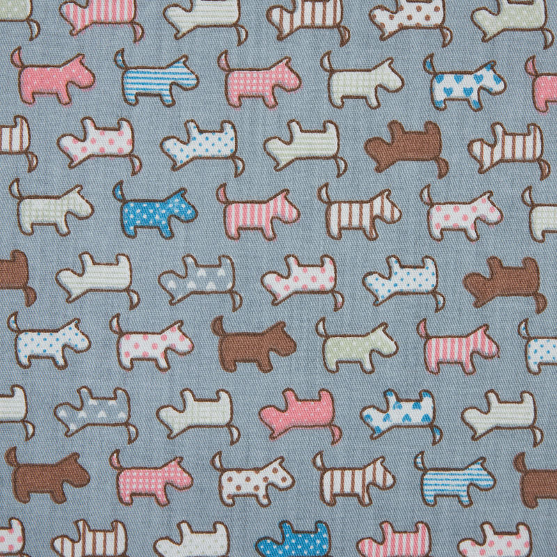 Fog Blue/Multi-colored Patterned Dogs Printed on a Cotton Twill