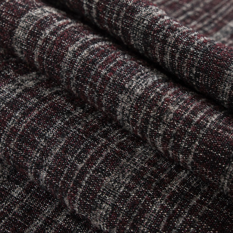 Tibetan Red/Gray/Black Boucled Heavy-Weight Wool Double Cloth - Folded