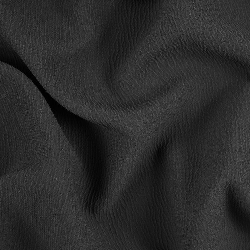 Black Textural Blended Silk Double Cloth