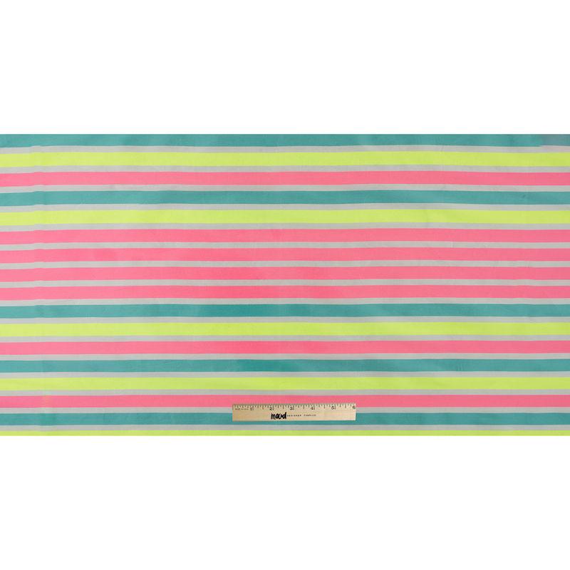 Fluorescent Pink Striped Taffeta - Full