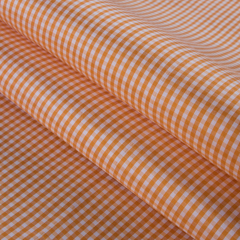 Tocca Apricot and White Gingham Silk Taffeta - Folded