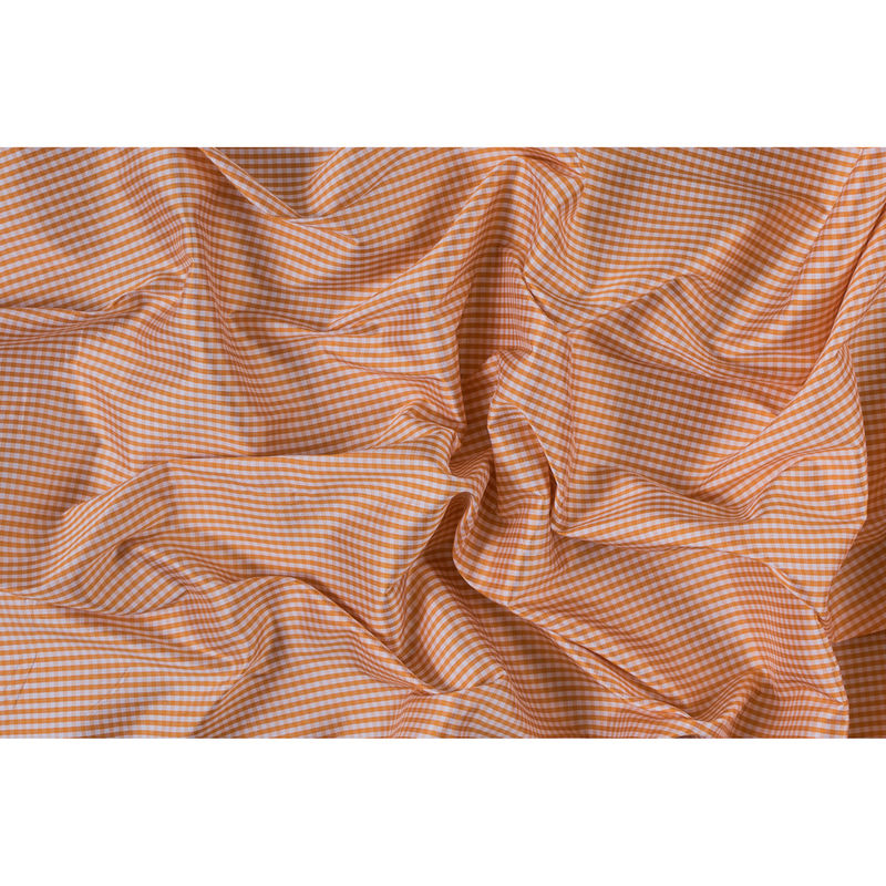 Tocca Apricot and White Gingham Silk Taffeta - Full