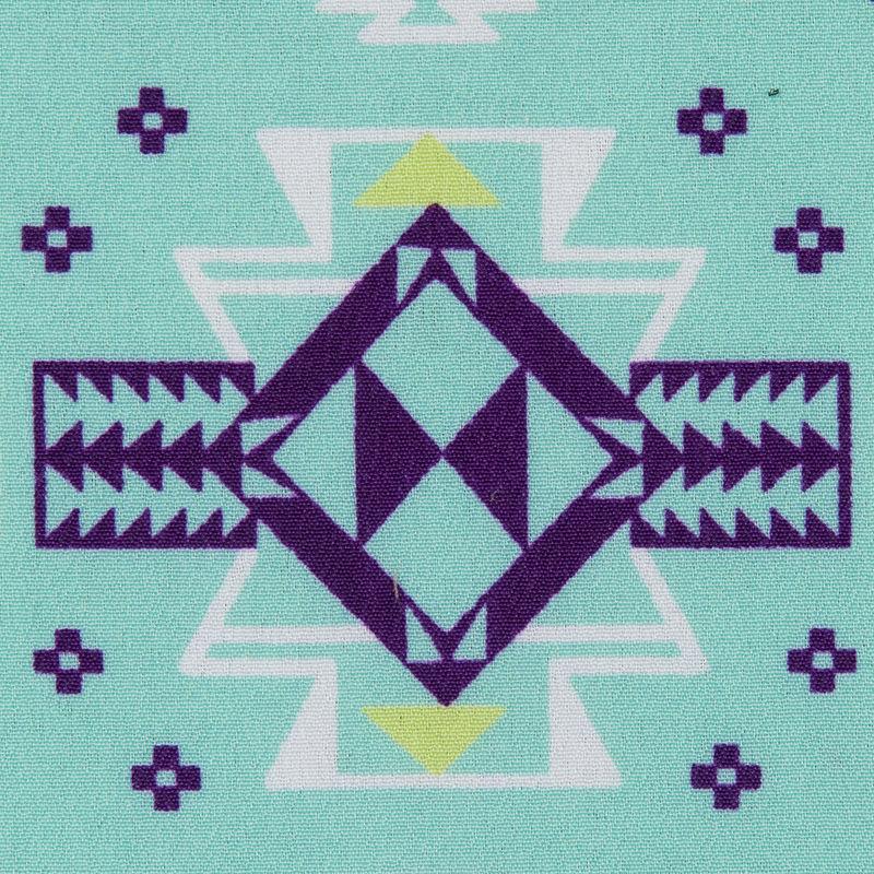 Cockatoo Blue Tribal Printed Crepe de Chine - Detail