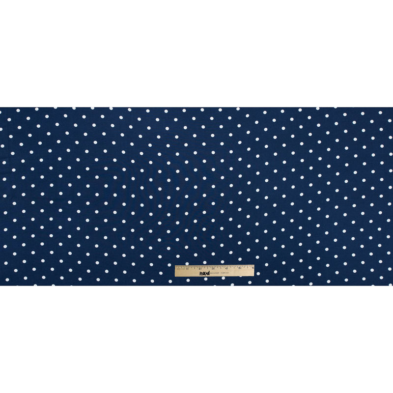 Navy Polka Dotted Rayon Challis - Full