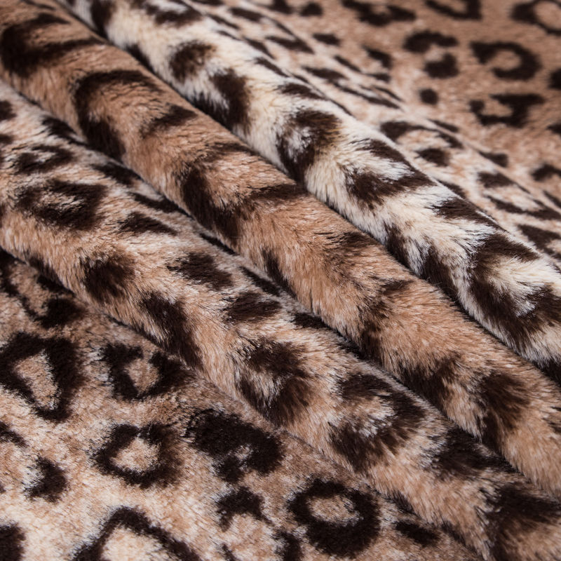 Brown and Beige Leopard Printed Stretch Faux Fur - Folded