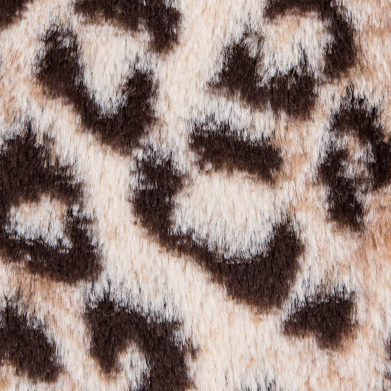 Brown and Beige Leopard Printed Stretch Faux Fur - Detail