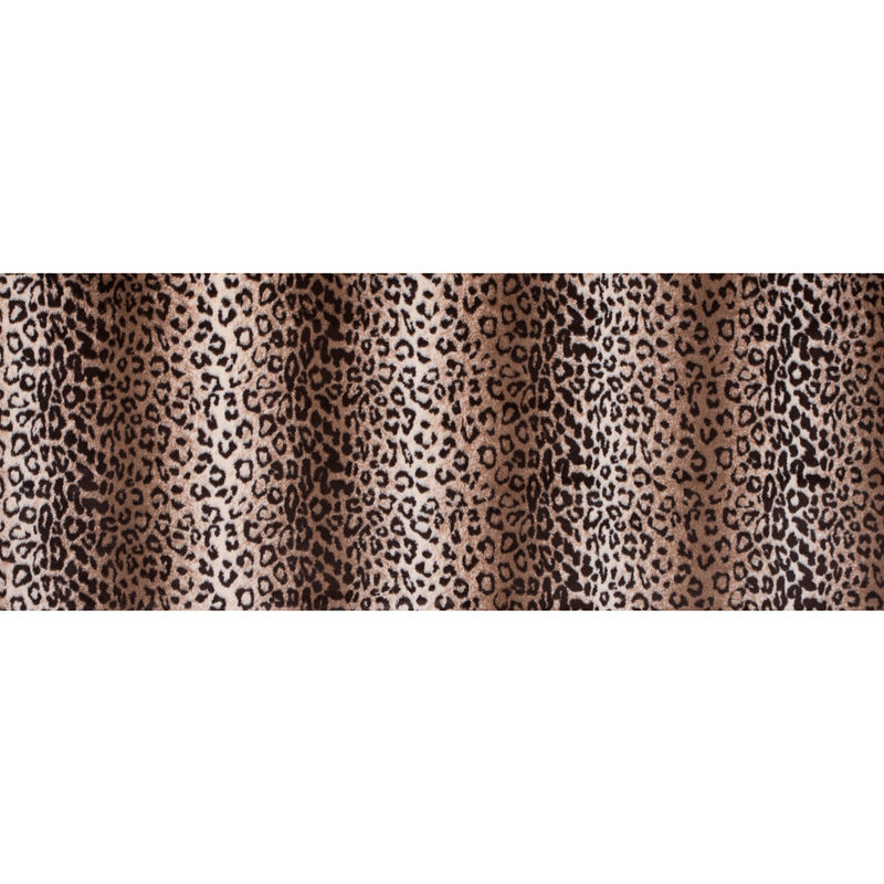 Brown and Beige Leopard Printed Stretch Faux Fur - Full