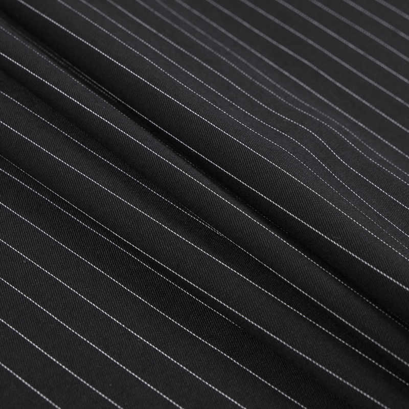 Italian Black and White Pinstriped Wool Twill - Folded