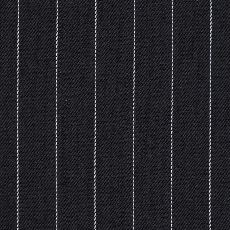 Italian Black and White Pinstriped Wool Twill - Detail