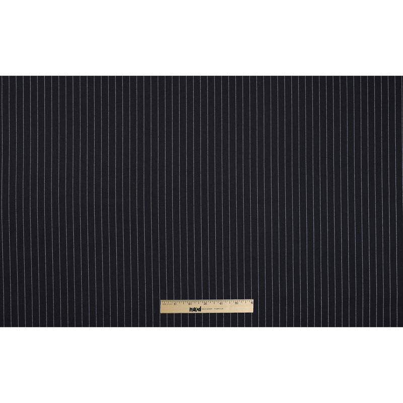 Italian Black and White Pinstriped Wool Twill - Full