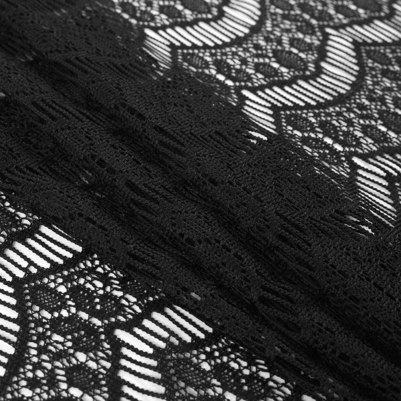 Black Crochet Lace with Eyelash and All-over Scallop Design - Folded