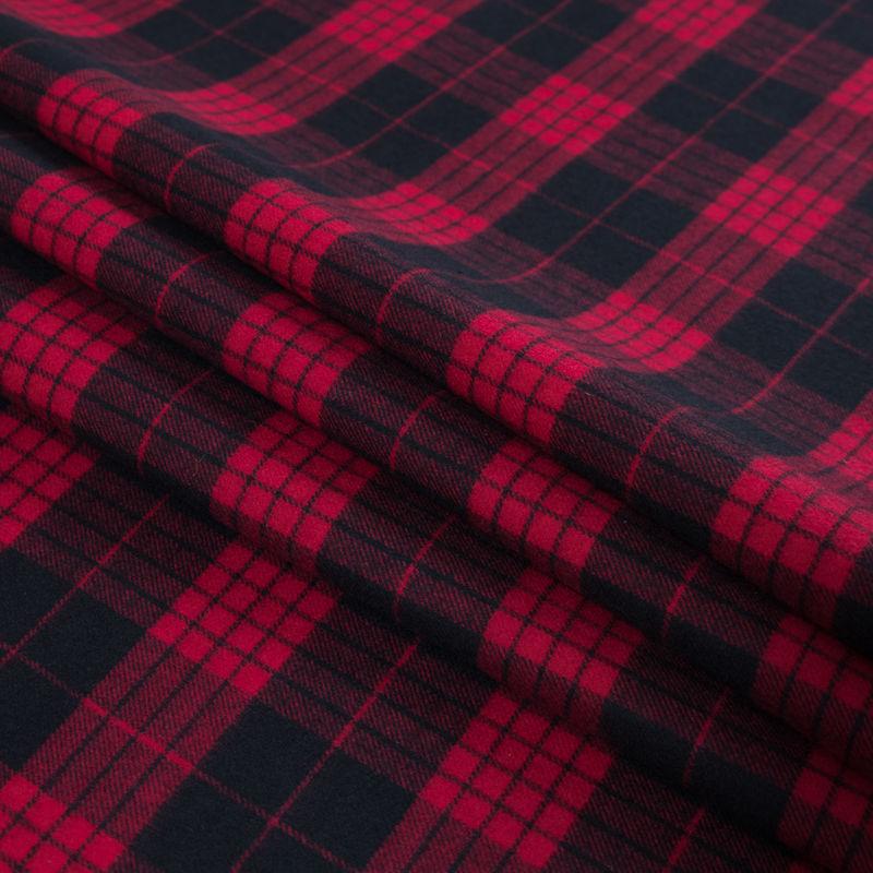 Lollipop and Black Tartan Plaid Cotton Flannel - Folded