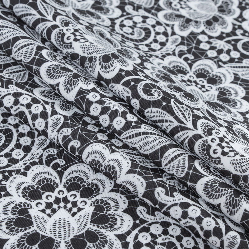 White and Black Floral Lace Printed Stretch Neoprene/Scuba Knit - Folded