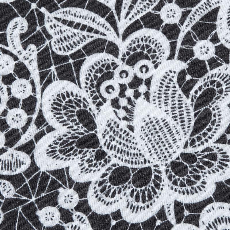 White and Black Floral Lace Printed Stretch Neoprene/Scuba Knit - Detail