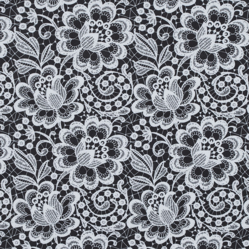 White and Black Floral Lace Printed Stretch Neoprene/Scuba Knit