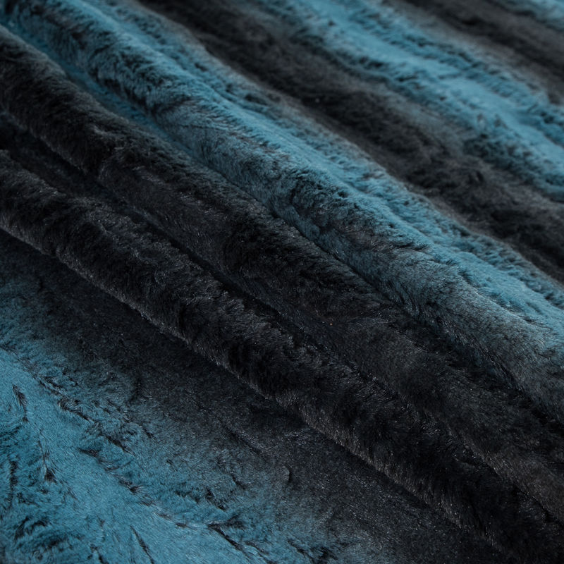 Famous NYC Designer Pacific Blue and Black Striped Faux Fur - Folded