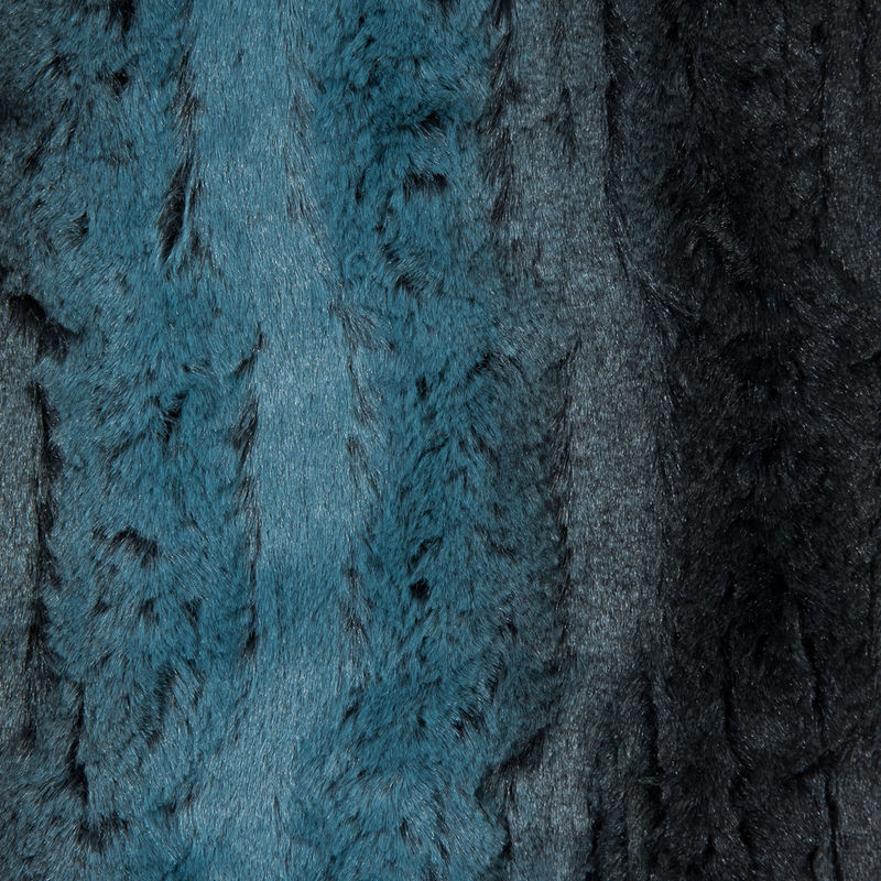 Famous NYC Designer Pacific Blue and Black Striped Faux Fur - Detail
