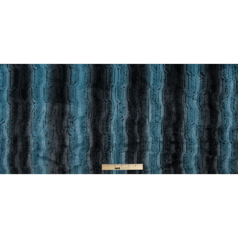 Famous NYC Designer Pacific Blue and Black Striped Faux Fur - Full