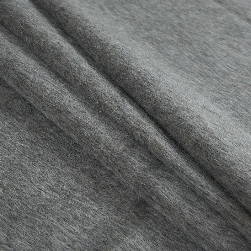 Italian Taupe Mohair Wool Coating - Folded
