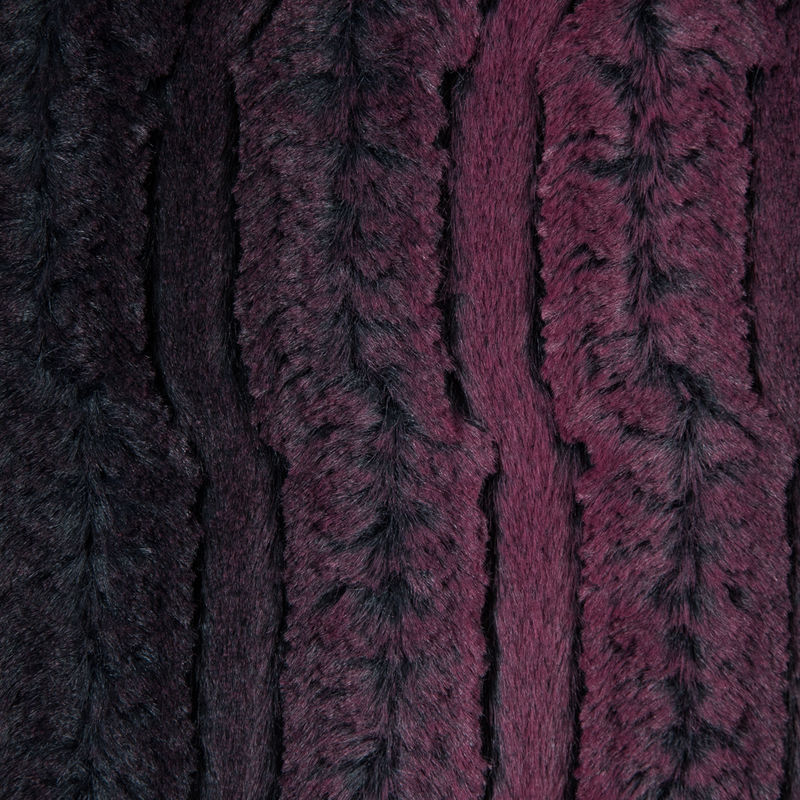 Famous NYC Designer Red Plum and Black Striped Faux Fur - Detail