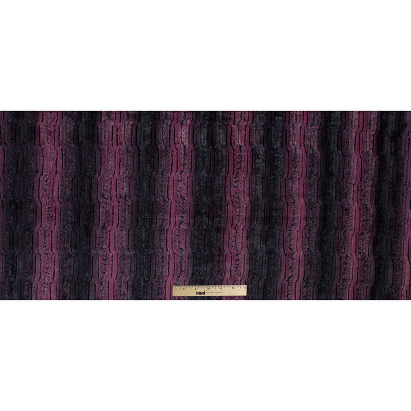 Famous NYC Designer Red Plum and Black Striped Faux Fur - Full