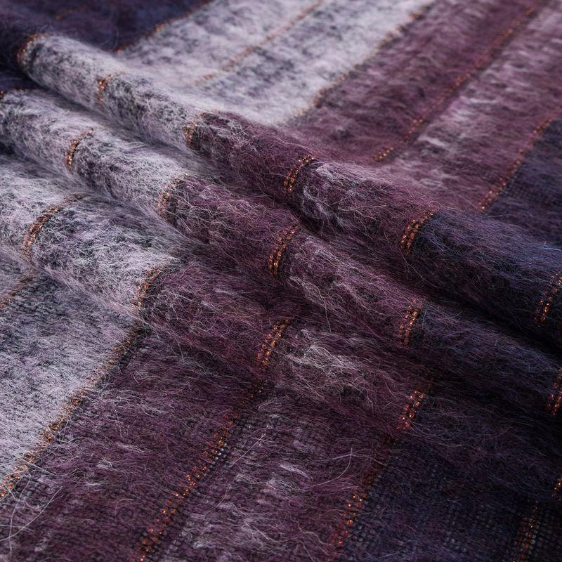 Famous NYC Designer Dark Purple and Metallic Burnt Orange Striped Mohair - Folded
