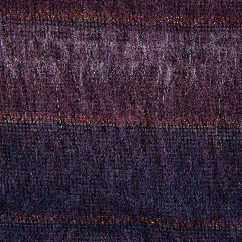 Famous NYC Designer Dark Purple and Metallic Burnt Orange Striped Mohair - Detail