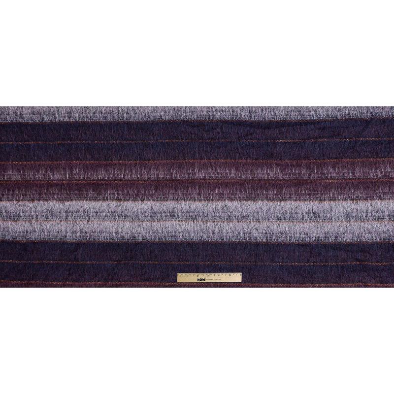 Famous NYC Designer Dark Purple and Metallic Burnt Orange Striped Mohair - Full