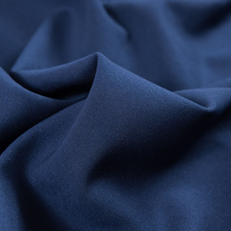 Navy Stretch Polyester Double Cloth - Detail