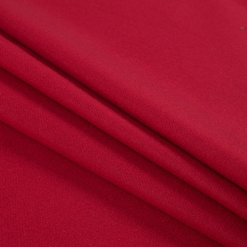 Ribbon Red Brushed Wool Twill Coating - Folded