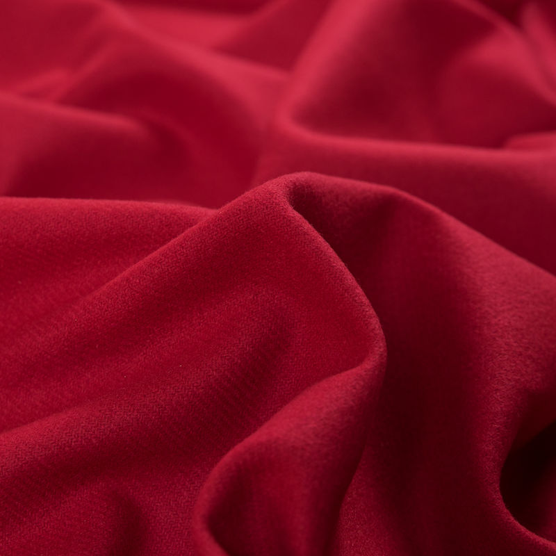 Ribbon Red Brushed Wool Twill Coating - Detail