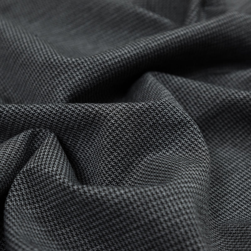 Black and Gray Stretch Houndstooth Double Knit - Detail
