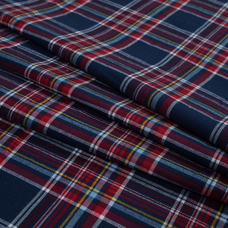 Blue, Red and Yellow Plaid Cotton Flannel - Folded