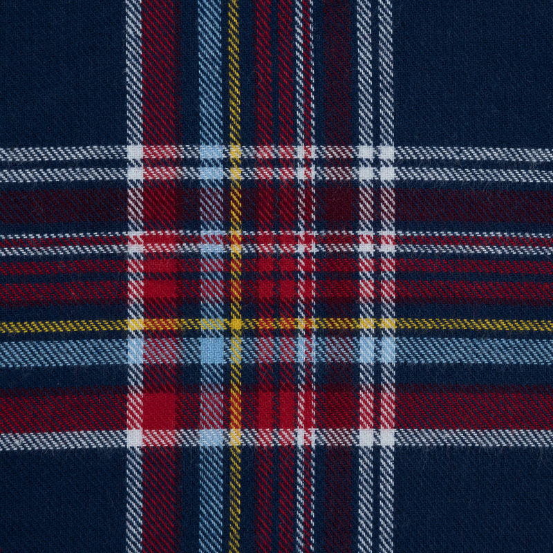 Blue, Red and Yellow Plaid Cotton Flannel - Detail