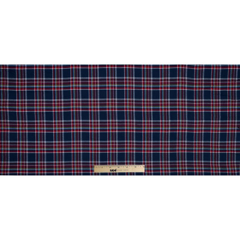 Blue, Red and Yellow Plaid Cotton Flannel - Full