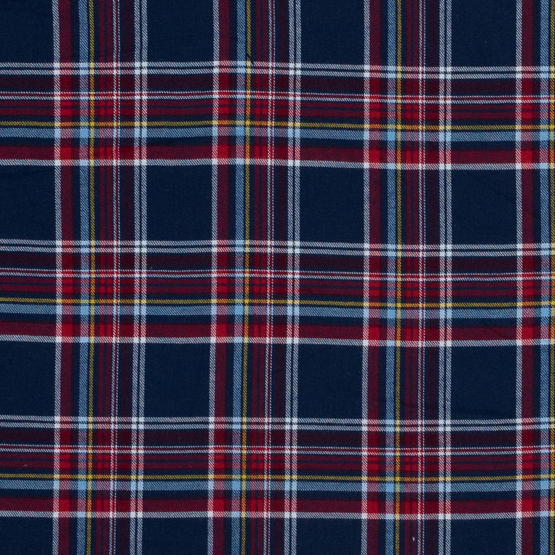 Blue, Red and Yellow Plaid Cotton Flannel
