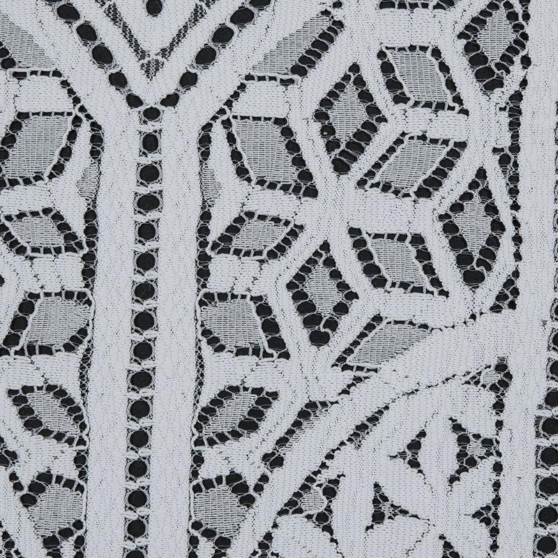 White Geometric Lace with Finished Eyelash Edges - Detail