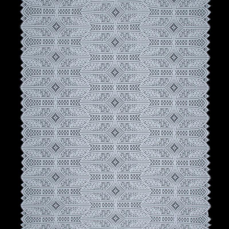 White Geometric Lace with Finished Eyelash Edges - Full