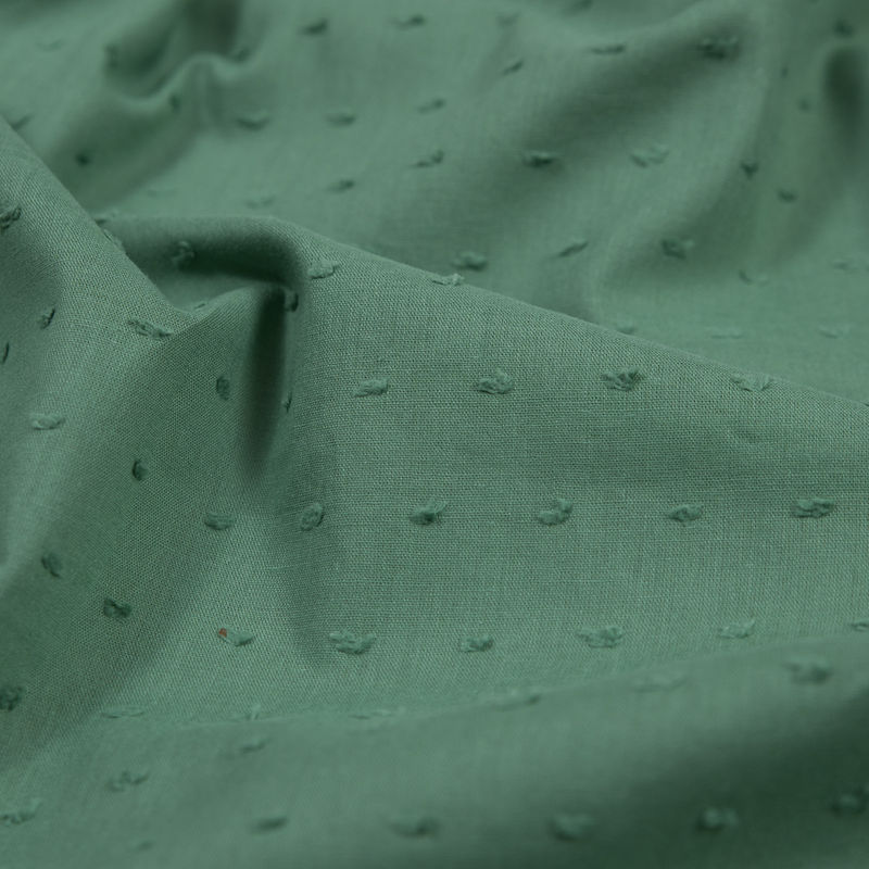 Italian Pea Green Cotton Swiss Dot - Detail
