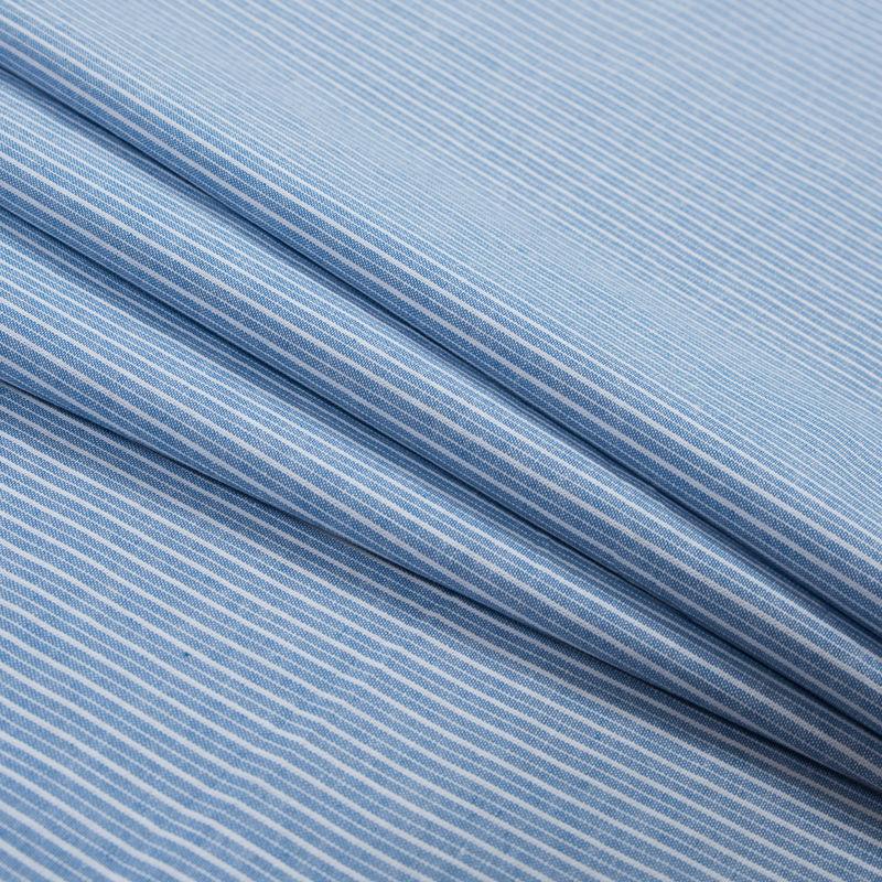 Blue Sky Striped Cotton Chambray - Folded