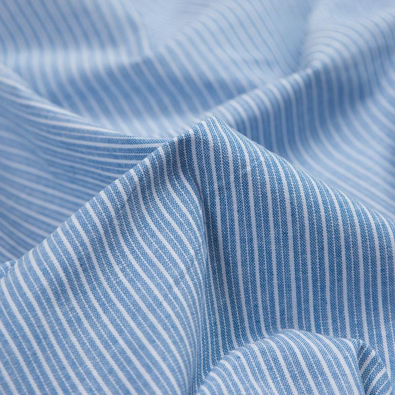 Blue Sky Striped Cotton Chambray - Detail