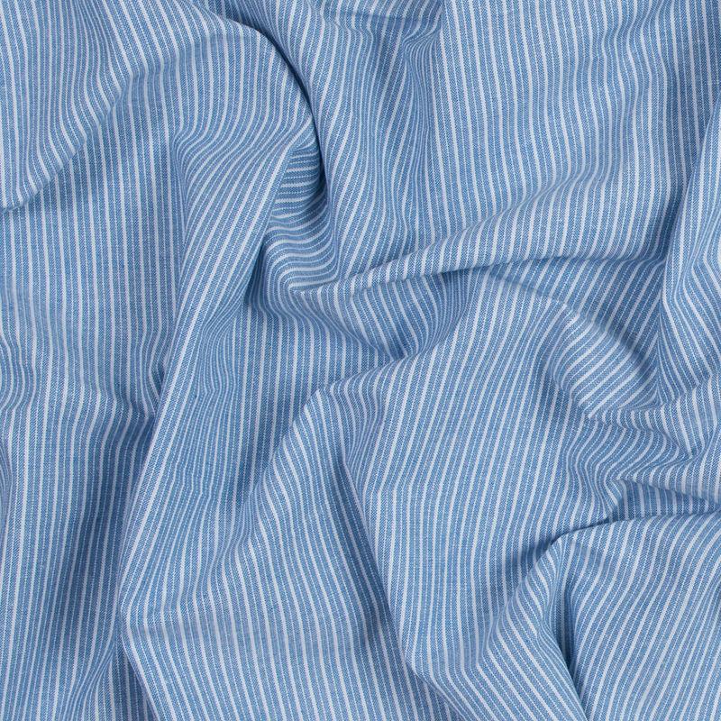 Blue Sky Striped Cotton Chambray