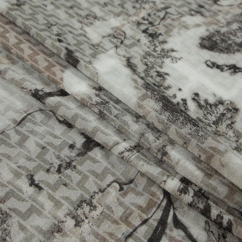 Italian Warm Gray Abstract Wool Sweater Knit - Folded
