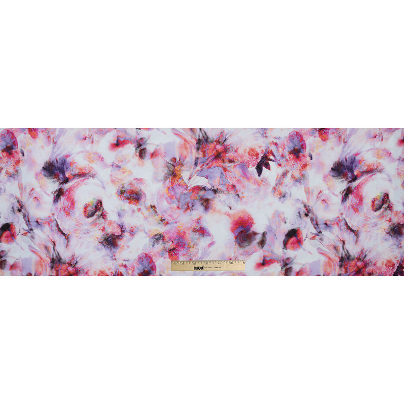 Italian Pink and Purple Abstract Printed Viscose Jersey - Full