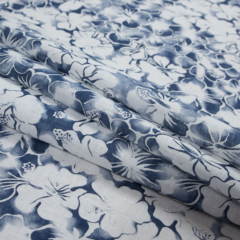 Blue Indigo and White Floral Printed Linen Woven - Folded