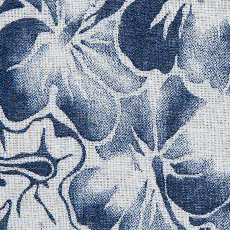Blue Indigo and White Floral Printed Linen Woven - Detail