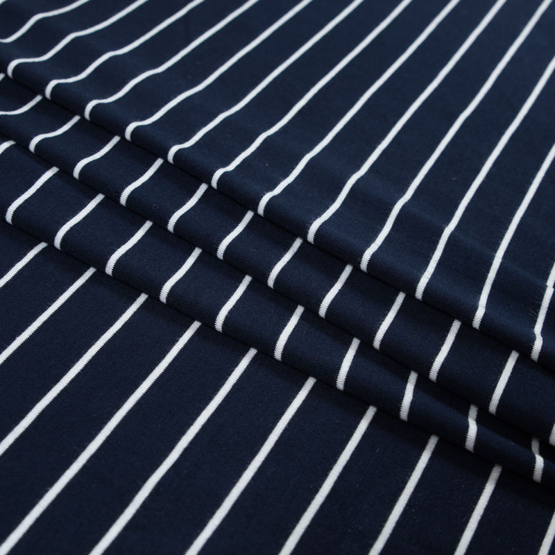 Navy and White Pencil Striped Rayon Jersey - Folded