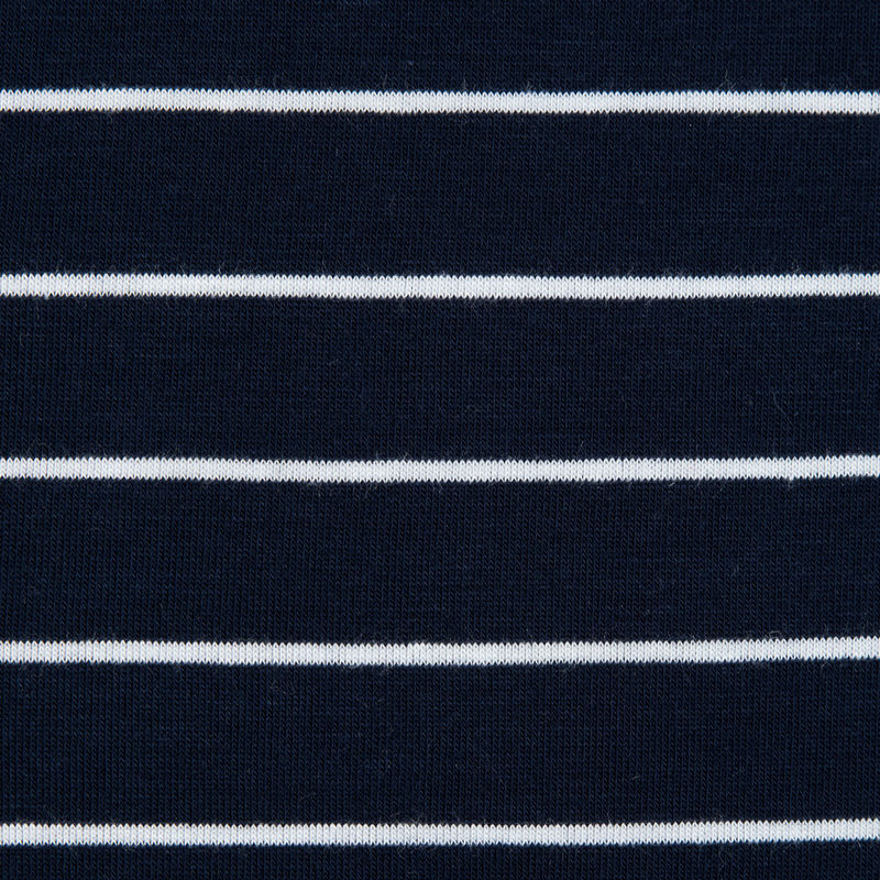 Navy and White Pencil Striped Rayon Jersey - Detail