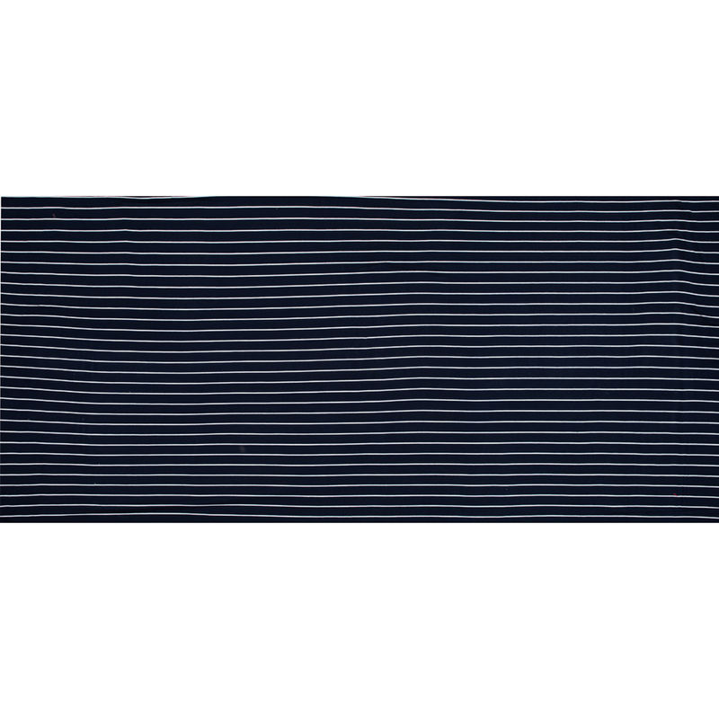 Navy and White Pencil Striped Rayon Jersey - Full