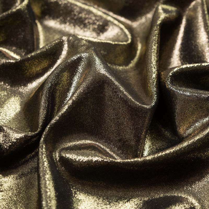 Black Stretch Velour with All-Over Gold Foil - Detail